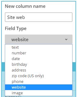 Création d'un nouveau nom de colonne dans la liste Mailchimp