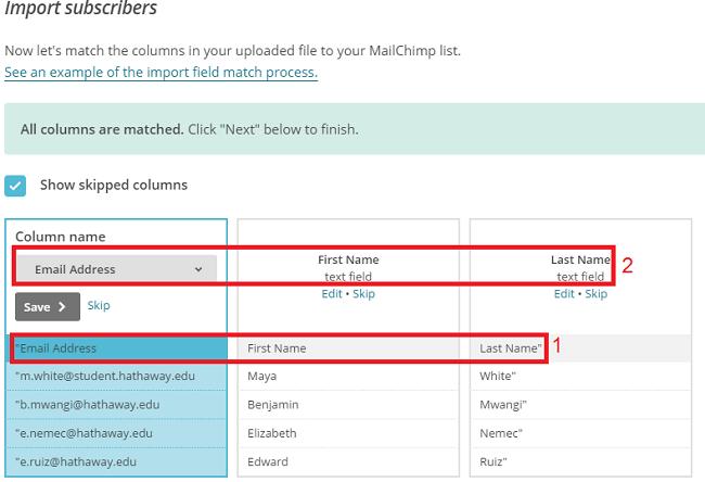 Import de fichier CSV vers Mailchimp