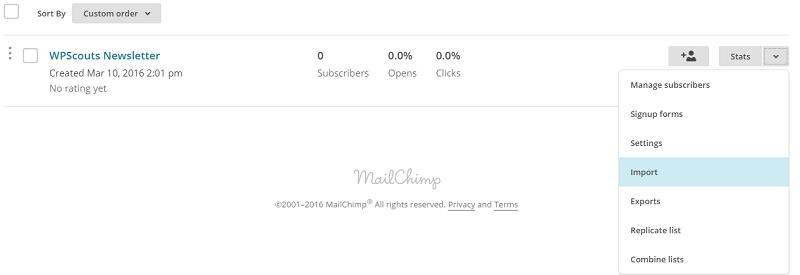 Import de liste d'abonnés vers Mailchimp