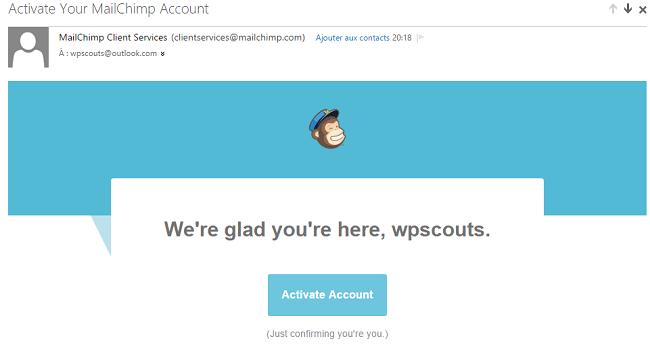 Mail d'activation de compte Mailchimp