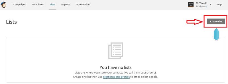 Page des listes dans Mailchimp