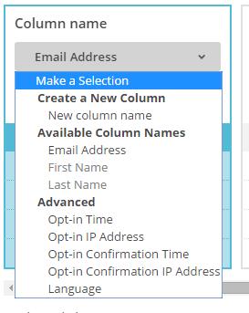 Sélection de colonne Mailchimp