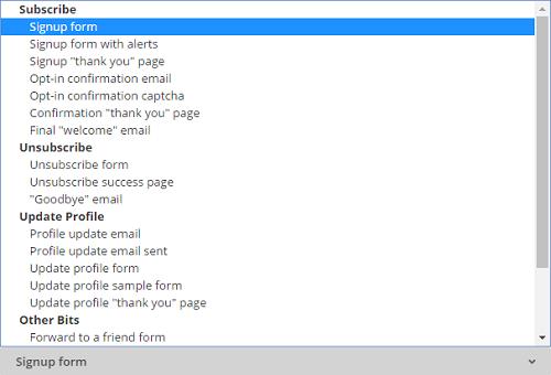 Formulaires, emails et pages mailchimp
