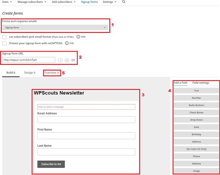 Création de formulaire Mailchimp