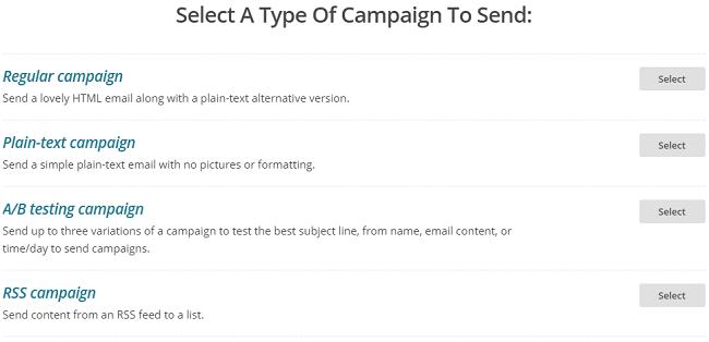 Sélectionner le type de campagne Mailchimp