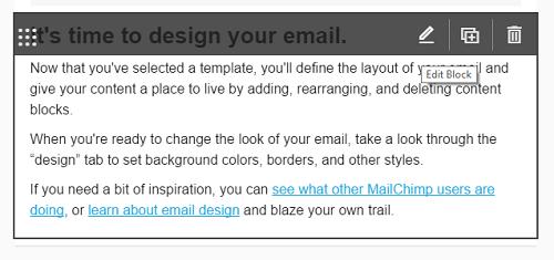 Modifier un élément de contenu dans la newsletter