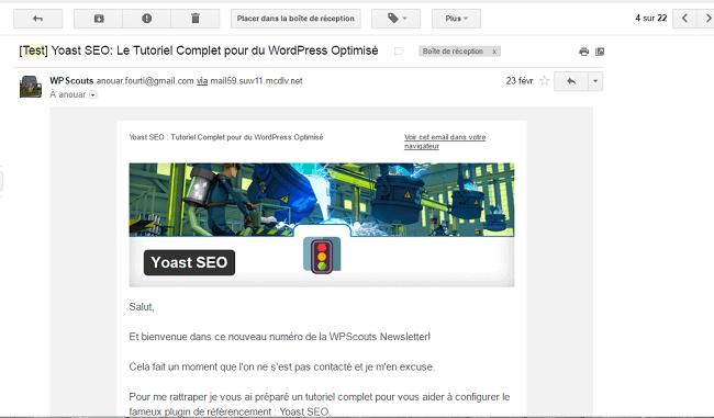 Teste de la newsletter