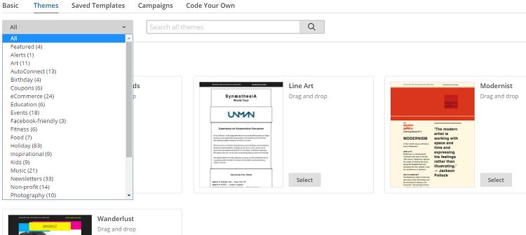 Sélection de thèmes pour le template de la newsletter Mailchimp