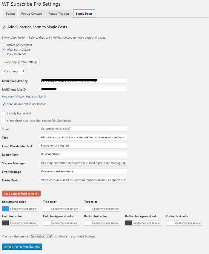 WP Subscribe Pro - Formulaire de Newsletter dans les articles et pages