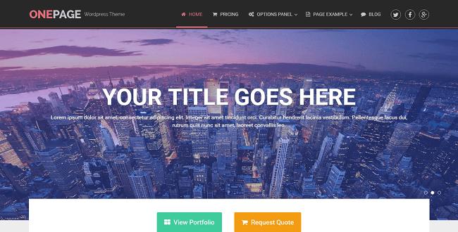 OnePage est un thème wordpress one page pour business et portfolio