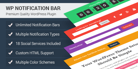 WP Notification Bar Pro - Plugin WordPress pour Créer des barres de notification - topbar