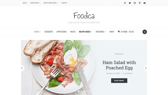 Foodica - thème wordpress pour blog et magazine de recettes de cuisine