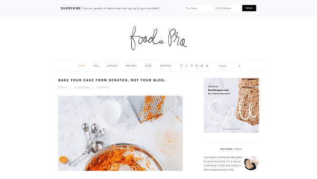 Foodie Pro - theme wordpress minimaliste pour blog culinaire. Par Studiopress.