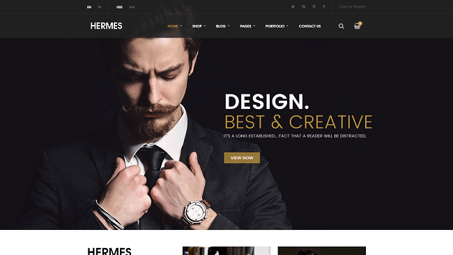 Hermes : Theme WordPress WooCommerce. Template pour créer un site WordPress e-commerce.