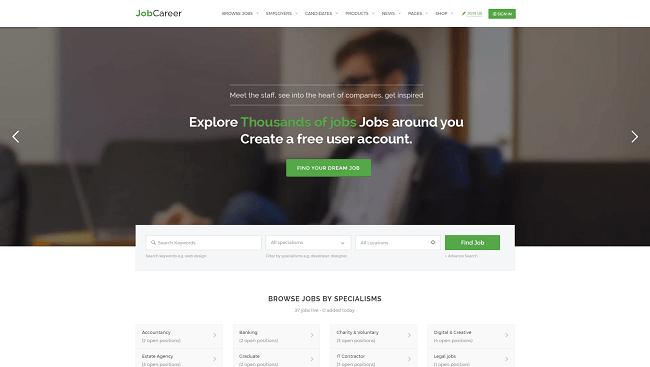 JobCareer - Thème WordPress Job Board pour créer un site d'offre d'emploi