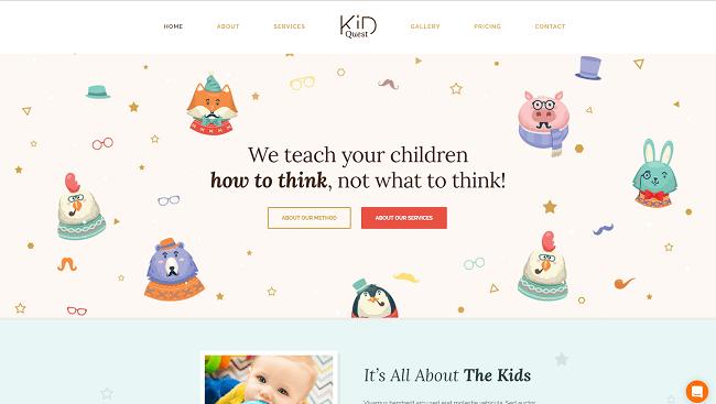 Kid Quest - Thème WordPress pour sites garderie, maternelle et enfants.