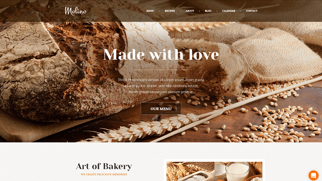 Molino - theme wordpress café, boulangerie
