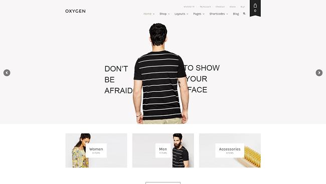 Oxygen - thème wordpress pour boutique de vente en ligne