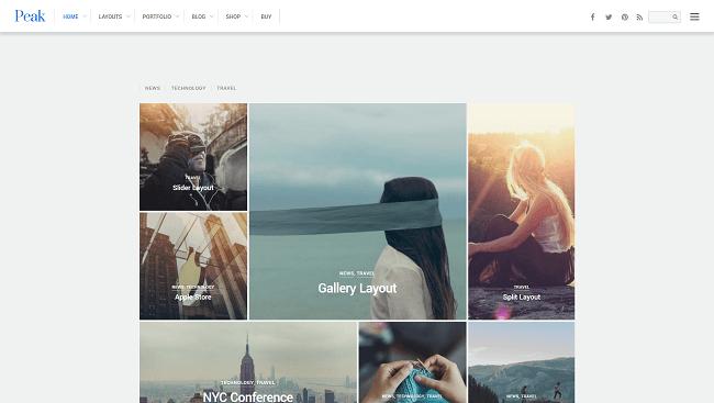 Peak - Theme WordPress sous format grille et mansory