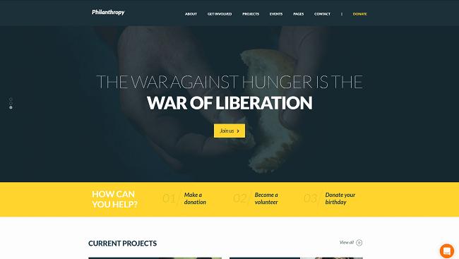 Philanthropy : Thème WordPress pour Association non lucrative, humanitaire et de charité