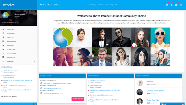Thrive - Theme WordPress Intranet et site de communité