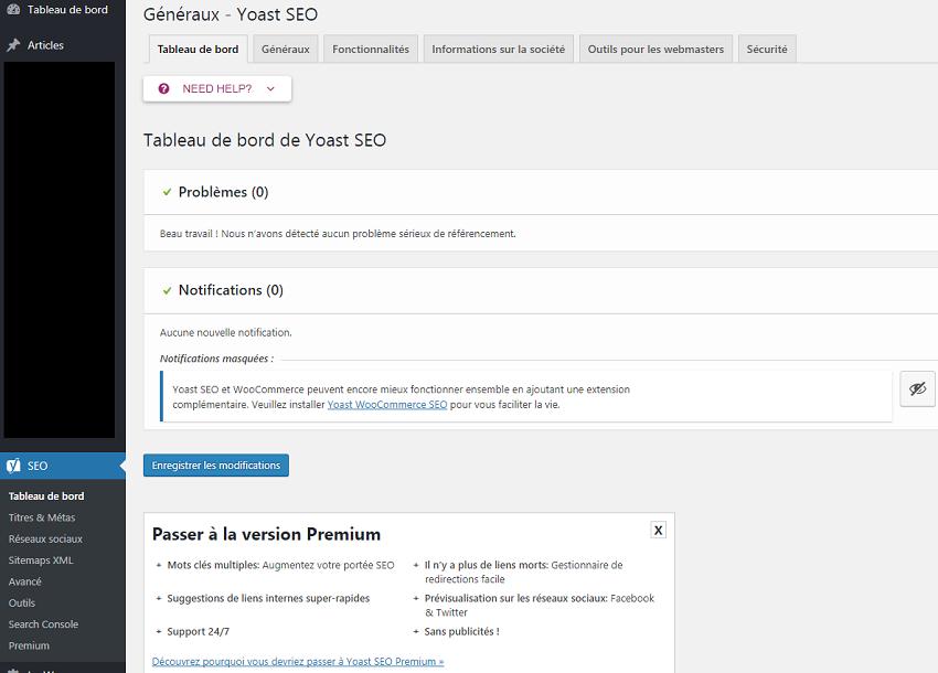 Page principale du plugin Yoast SEO