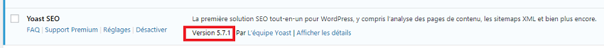 Version du plugin Yoast SEO