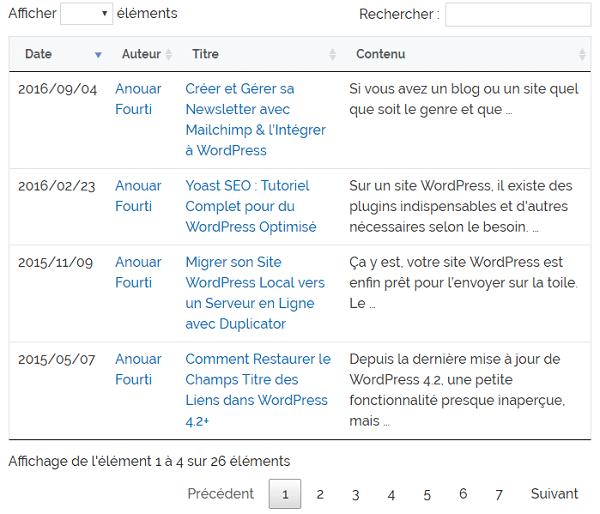 Afficher les articles d'une certaine catégorie avec le plugin Posts Table with Search & Sort