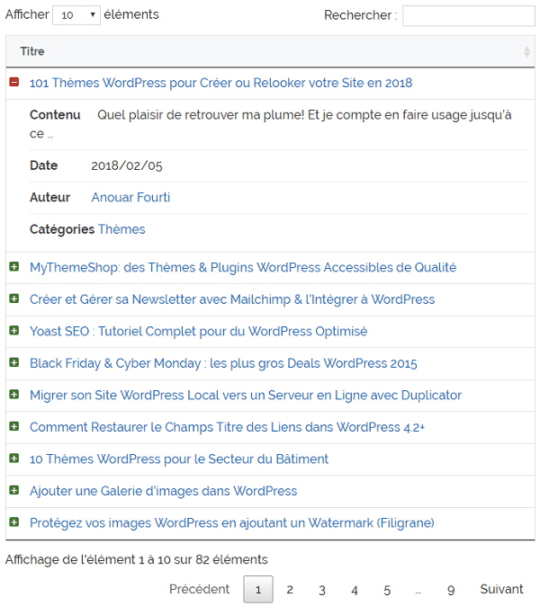 Empêcher le retour automatique à la ligne avec Posts Table with Search & Sort