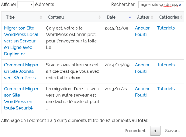 Exemple de recherche d'articles dans le plugin Posts Table with Search & Sort