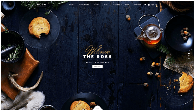 Rosa - Meilleur Theme WordPress Restaurant