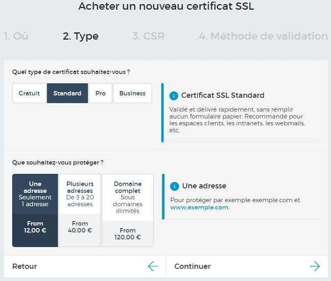 Types de certificats SSL proposés par Gandi