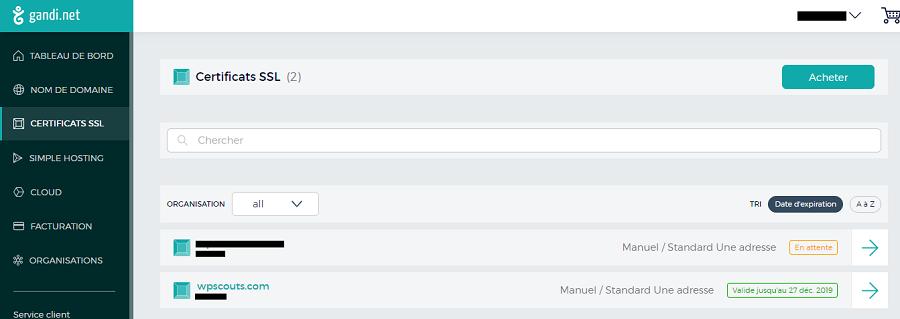 Page de Certificats SSL sur Gandi
