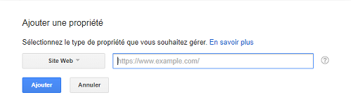 Ajouter une propriété dans la Google Search Console