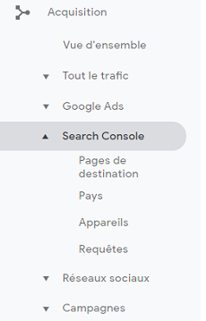 Menu Search Console dans Google Analytics
