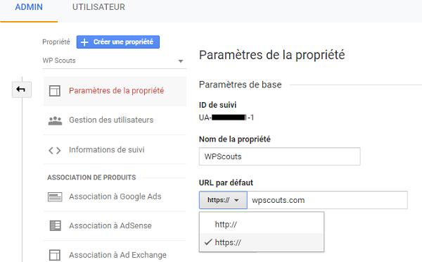 Mettre à jour l'url HTTPS de la propriété Google Analytics