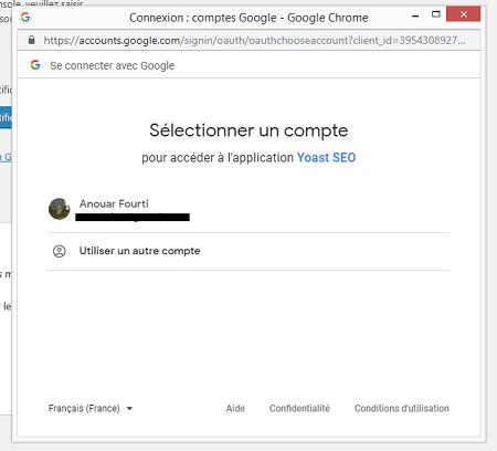 Choisir Compte Google pour la Search Console