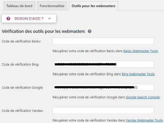 Outils pour les Webmasters - Yoast SEO