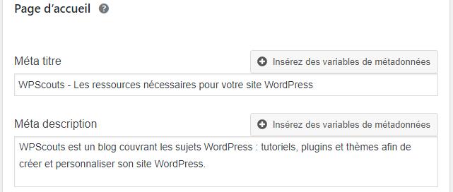 Configurer le titre et la méta-description de la page d'accueil avec Yoast SEO.