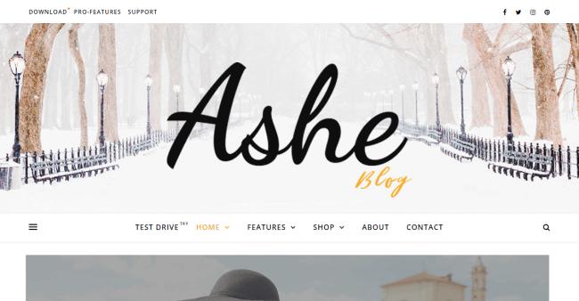 Ashe : Meilleur Theme WordPress Gratuit pour Blog. Destiné aux blogueuses : mode, santé et fitness, nourriture, cuisine, boulangerie, voyage, beauté, mode, mariage, photographie.