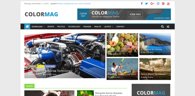 ColorMag : theme wordpress magazine gratuit