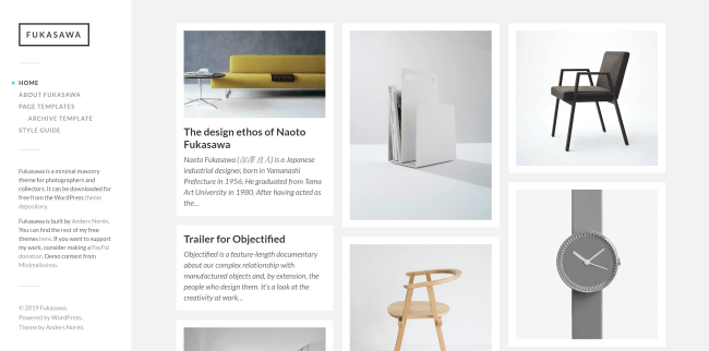 Fukasawa : theme wordpress gratuit minimaliste avec style mansory, pour photographe et artiste.