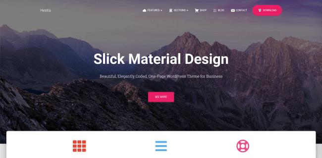 Hestia : theme wordpress gratuit basé sur material design