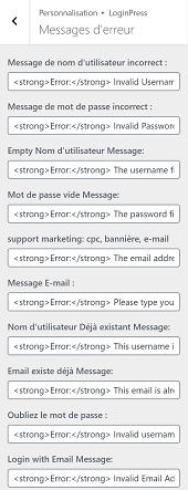 Comment personnaliser les messages d'erreurs dans la page de connexion