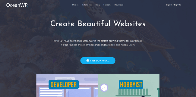 OceanWP : meilleur theme wordpress gratuit