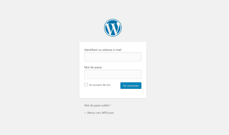 Page de connexion WordPress par défaut