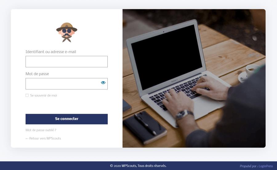 Page de connexion WordPress professionnelle