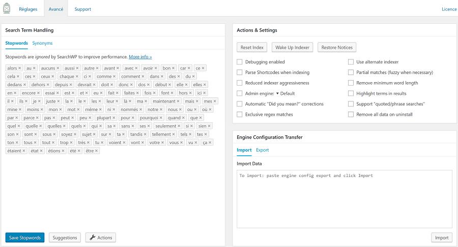 SearchWP : Réglages avancés