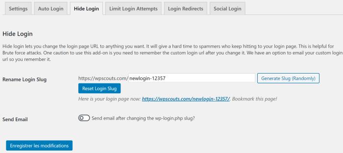 Renommer URL de la page de connexion WordPress