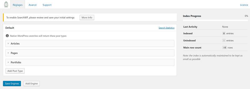 SearchWP Réglages